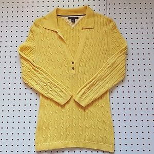 Tommy Hilfiger Yellow Cable Knit Sweater, Size M
